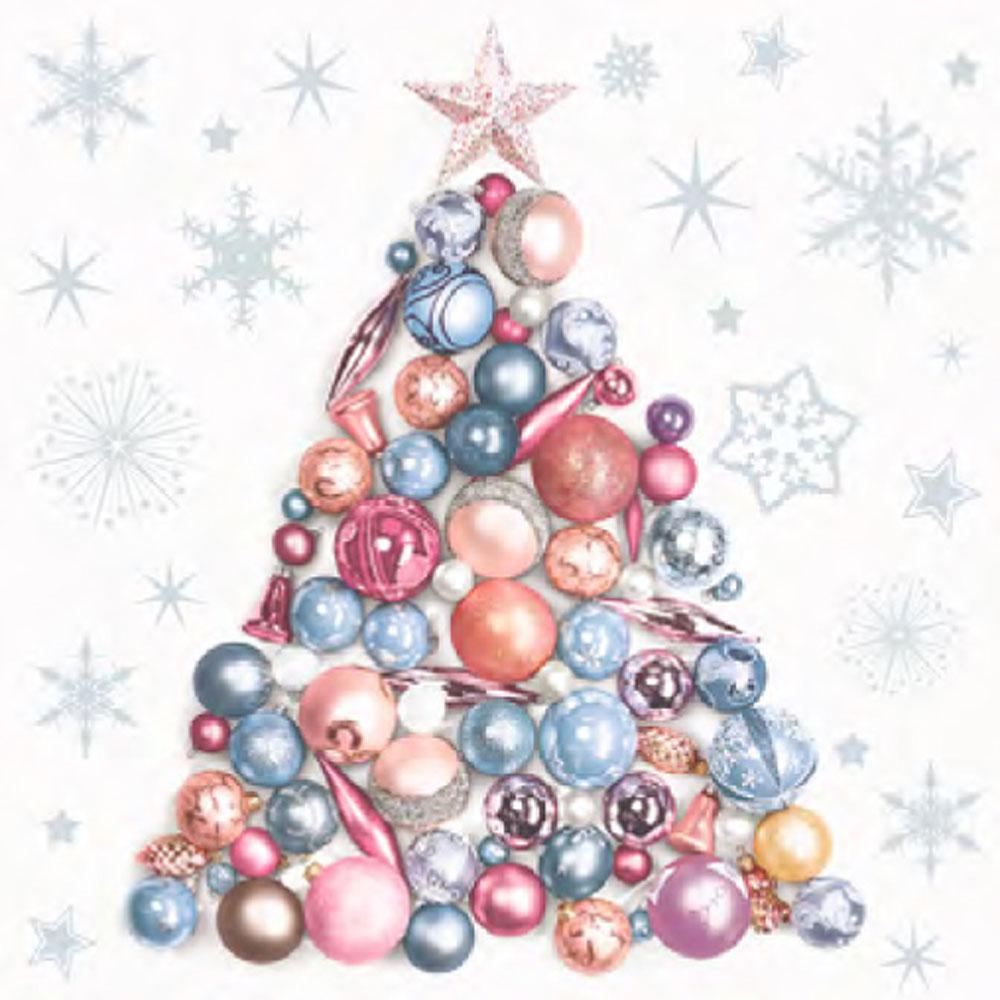 Ditipo Vánoční papírové ubrousky Vánoční stromeček z baněk 33 x 33 cm 3 vrstvé 20 kusů