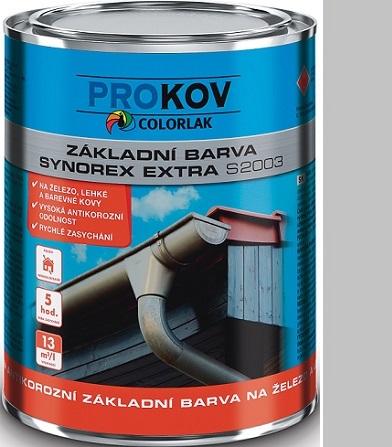 Fotografie Colorlak Synorex Extra S 2003 syntetická antikorozní barva na železo a kovy Šedá 0,6 l