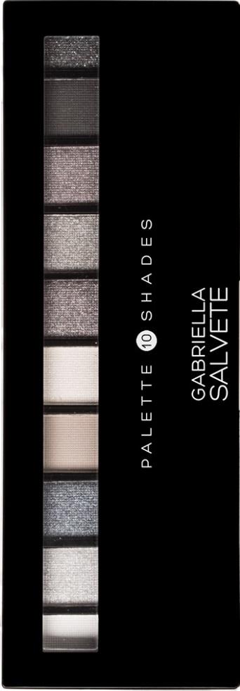 Fotografie Gabriella Salvete Palette 10 Shades paleta očních stínů se zrcátkem a aplikátorem 03 Grey 12 g