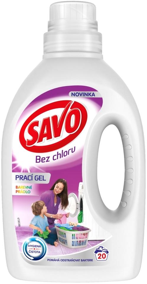 Fotografie Savo Bez chloru Color prací gel na barevné prádlo 20 dávek 1 l