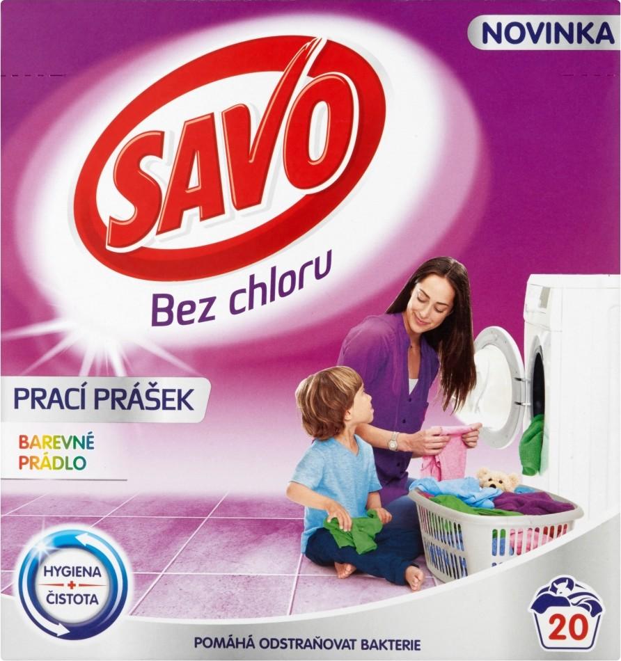 Fotografie Savo Bez chloru Color prací prášek na barevné prádlo 20 dávek 1,4 kg