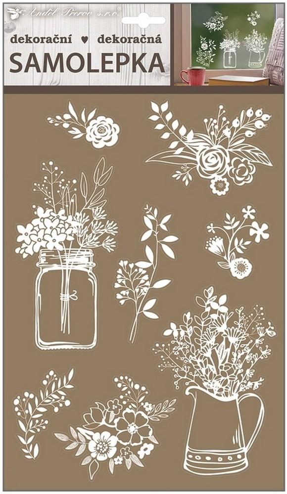 Room Decor Samolepicí dekorace kvítí bílé 30 x 21 cm