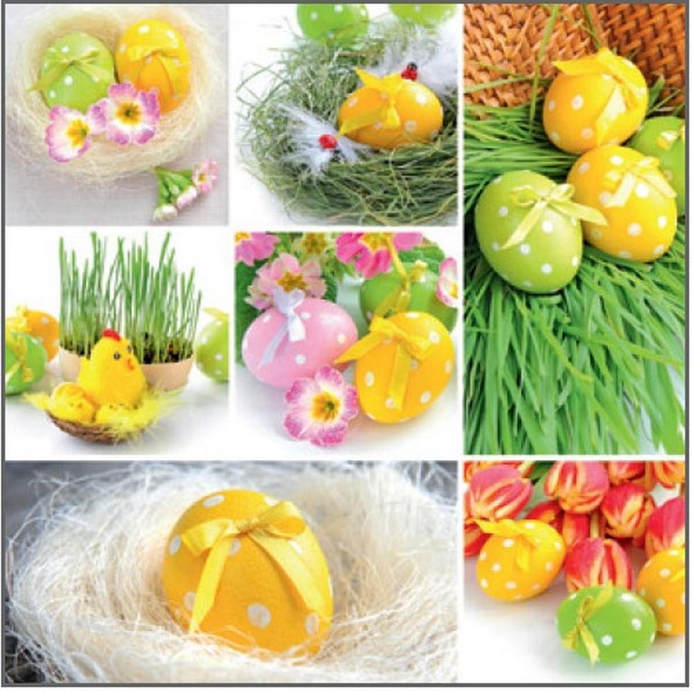 Velikonoční papírové ubrousky zelené osení, žlutá vajíčka 33 x 33 cm 3 vrstvé 20 kusů
