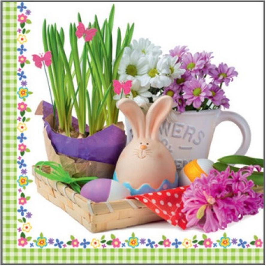 Velikonoční papírové ubrousky zajíček, hrneček, květináč 33 x 33 cm 3 vrstvé 20 kusů