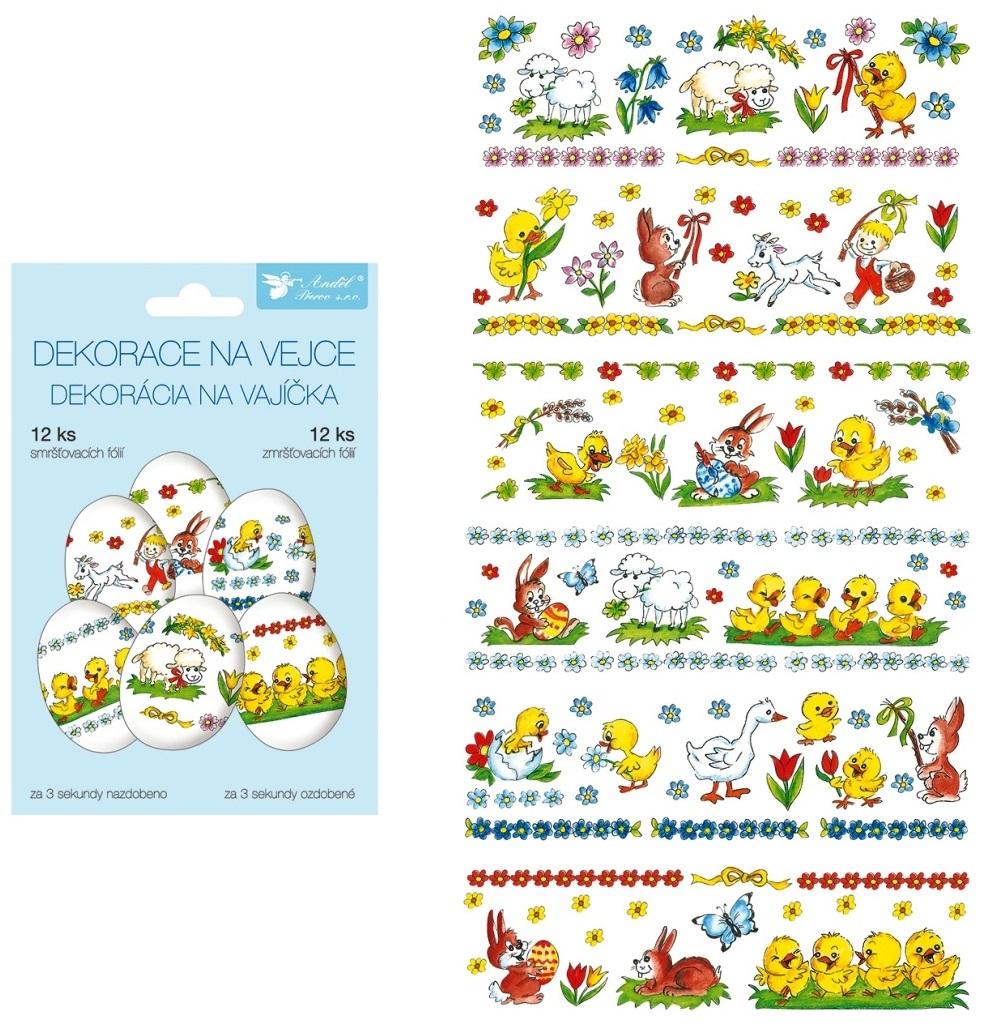Smršťovací dekorace fólie na vejce Tradiční motivy 12 kusů
