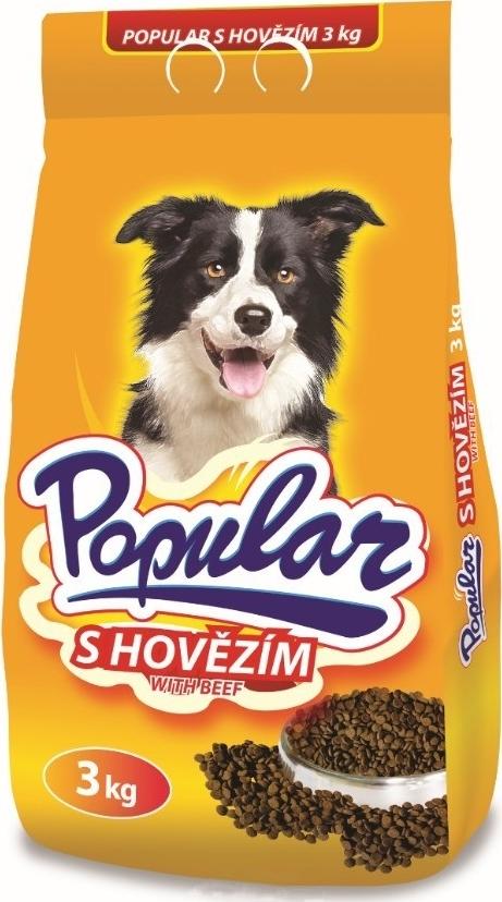 Fotografie Popular S hovězím kompletní krmivo pro psy 3 kg