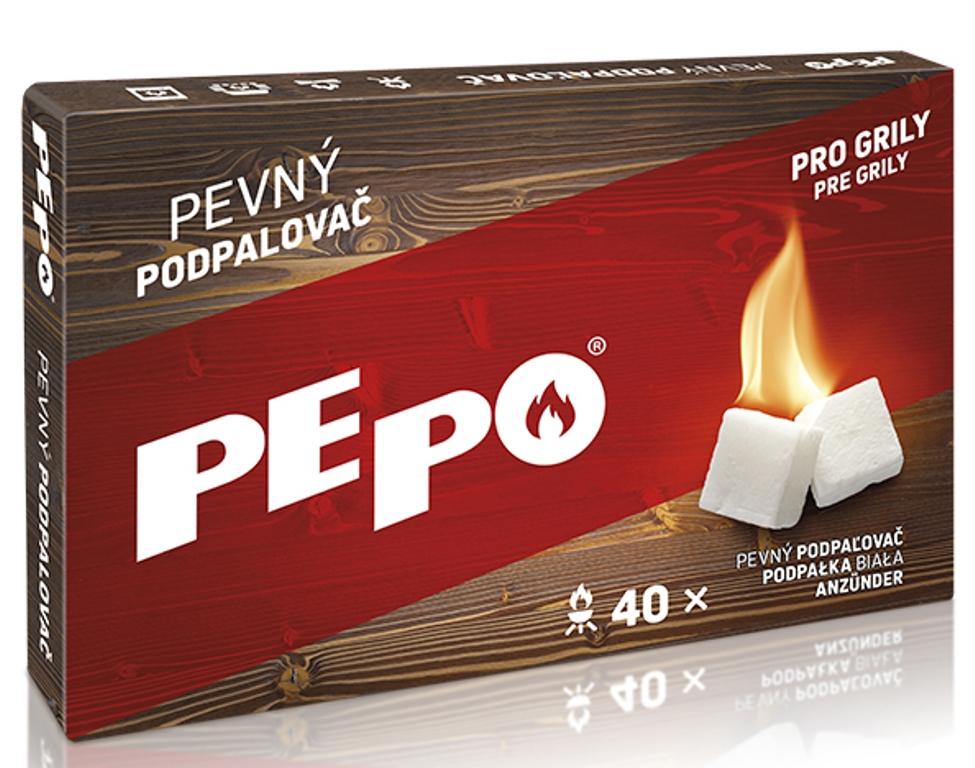 Fotografie Pe-po Pevný podpalovač pro grily, krabička 40 podpalů