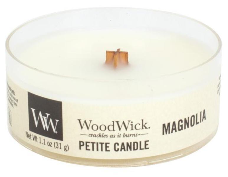 WoodWick Magnolia - Magnólie vonná svíčka s dřevěným knotem petite 31 g