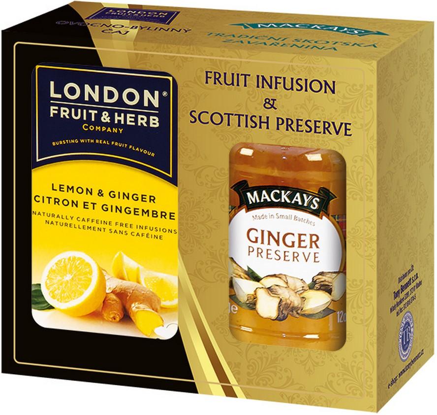 Fotografie London Fruit & Herb Lemon & Ginger ovocno-bylinný čaj 20 sáčků x 2 g + zázvorová zavařenina 340 g, sada