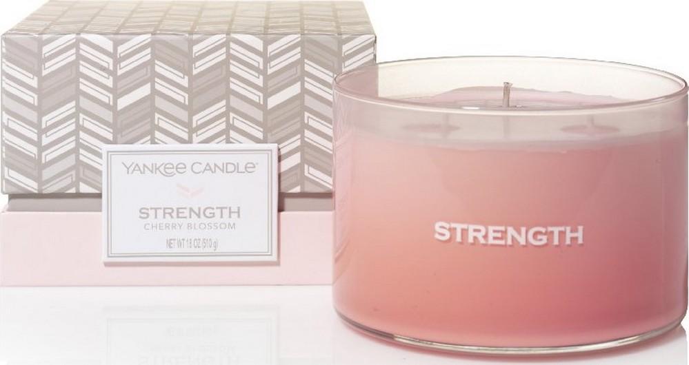 Yankee Candle Strength Cherry Blossom - Třešňový květ vonná svíčka sklo 3 knoty 510 g