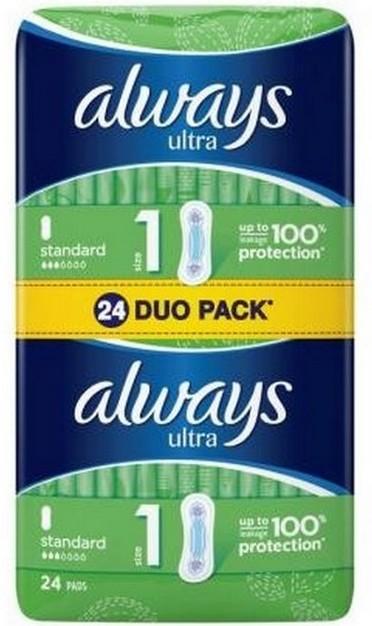 Fotografie Always Ultra Standart hygienické vložky 24 kusů