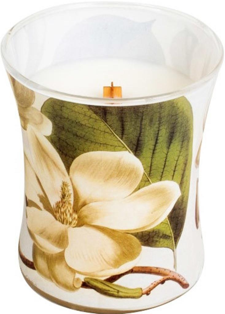 WoodWick Decal Magnolie - Magnóliové květy vonná svíčka s dřevěným knotem a víčkem sklo střední 275 g