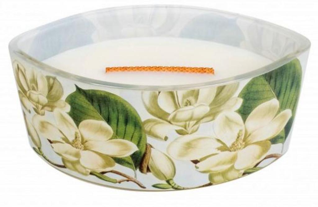 WoodWick Decal Magnolie - Magnóliové květy vonná svíčka s dřevěným širokým knotem a víčkem sklo loď 453 g