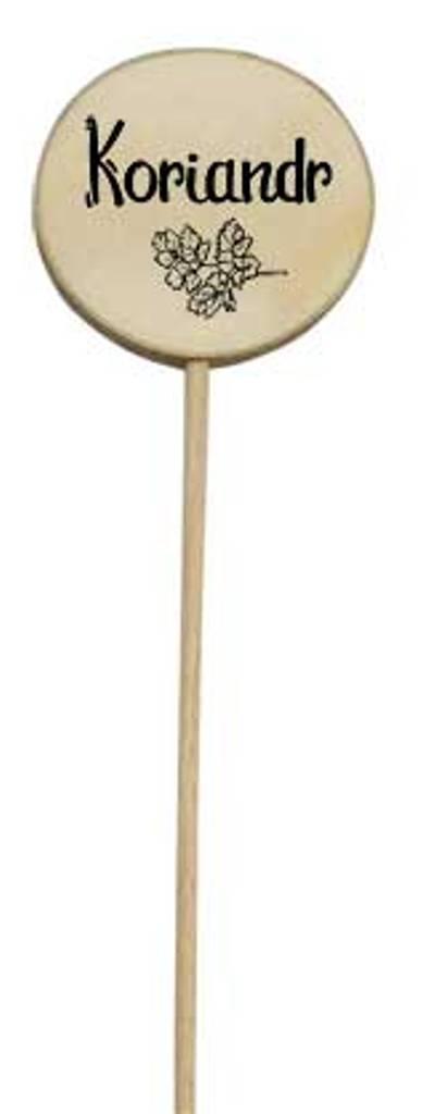 Bohemia Gifts Dřevěný zápich k bylinkám s potiskem - koriandr průměr kolečka je 5 - 8 cm