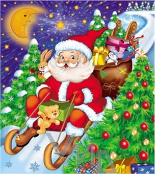 Press Igelitová taška s uchem Santa Claus na saních 45 x 50 cm 1 kus