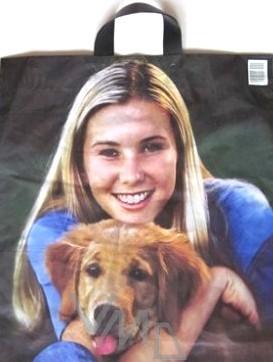 Press Igelitová taška Dívka a pes 44 x 50 cm 1 kus