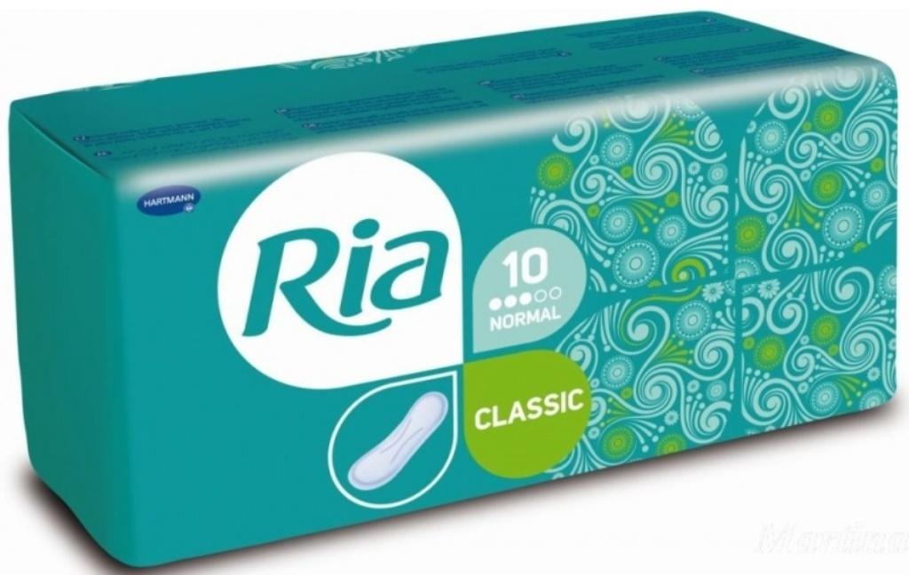 Fotografie Ria Classic Normal hygienické vložky bez křidélek 10 kusů