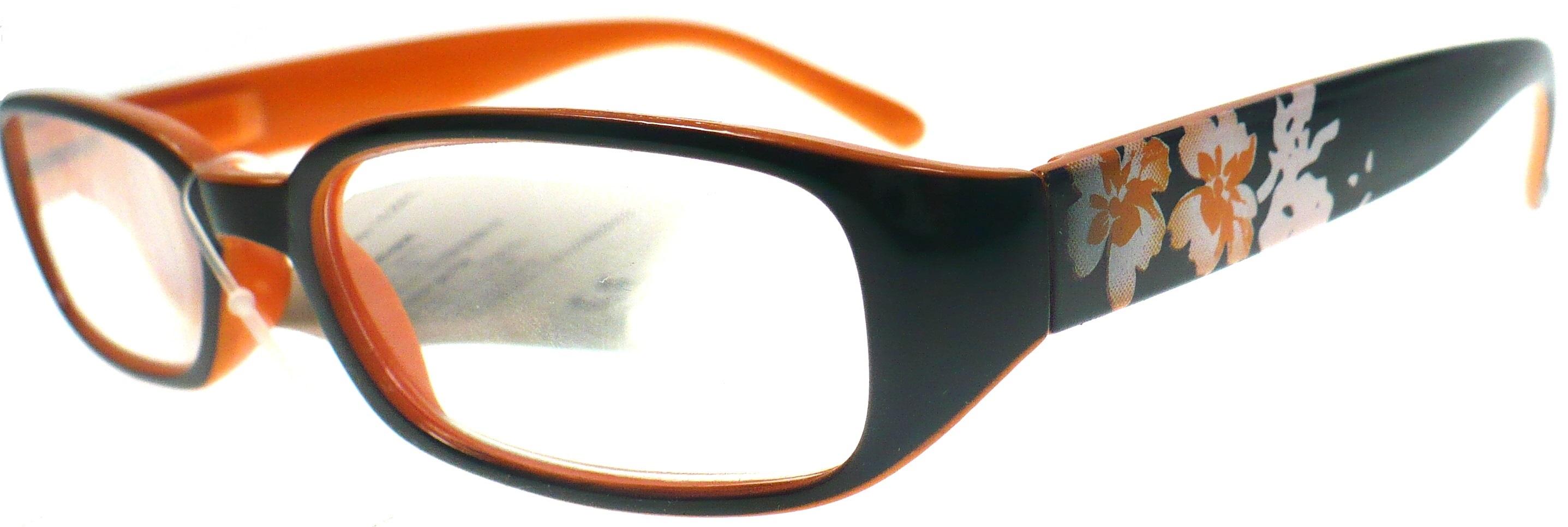 Berkeley Čtecí dioptrické brýle +1,50 černooranžové s kytkama 1 kus MC 2103