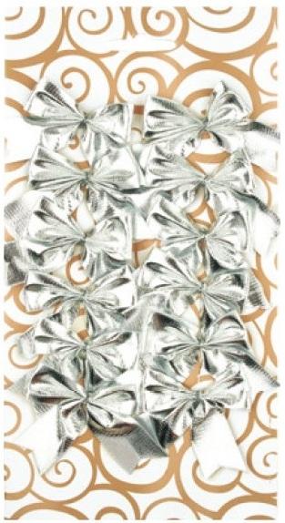 Dekorace mašle stříbrná 5,5 cm 12 kusů