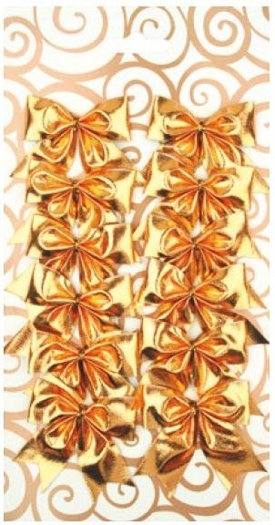Dekorace mašle zlatá 5,5 cm 12 kusů