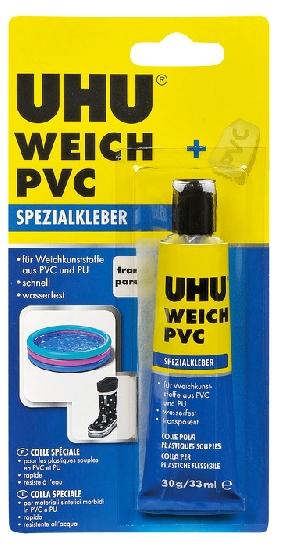 Fotografie Uhu Weich PVC lepidlo pro opravy a lepení měkčených plastů se záplatou 30 g