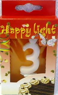 Happy light Dortová svíčka číslice 3 v krabičce