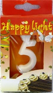 Happy light Dortová svíčka číslice 5 v krabičce