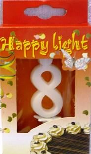 Happy light Dortová svíčka číslice 8 v krabičce
