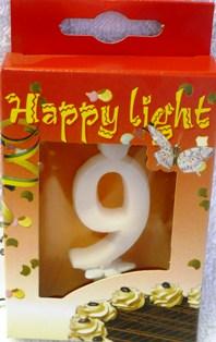Happy light Dortová svíčka číslice 9 v krabičce