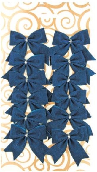 Dekorace mašle modrá 5,5 cm 12 kusů