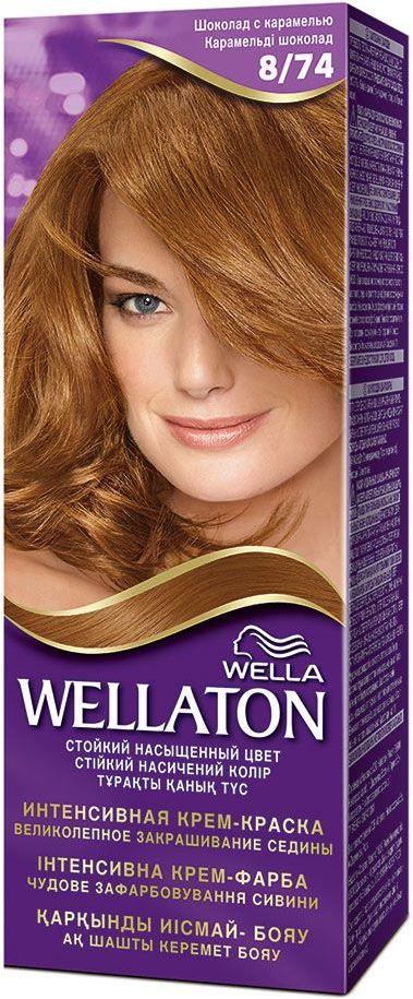 Fotografie Wella Wellaton Intense Color Cream krémová barva na vlasy 8/74 čokoládový karamel