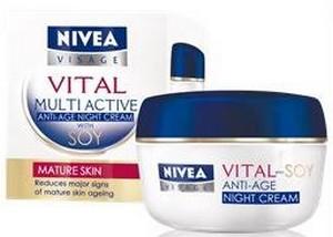 Fotografie Nivea Visage Vital Multi Active Sója noční krém proti vráskám 50 ml