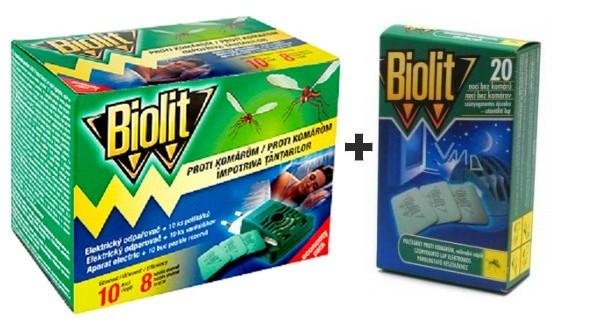 Biolit Elektrický odpařovač s polštářky proti komárům 10 kusů náhradní náplň + Biolit polštářky 20 kusů