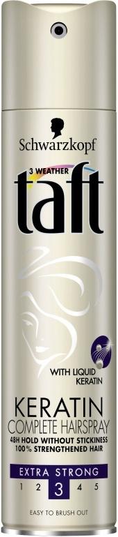 Fotografie Taft Keratin Complete extra silná fixace lak na vlasy 250 ml