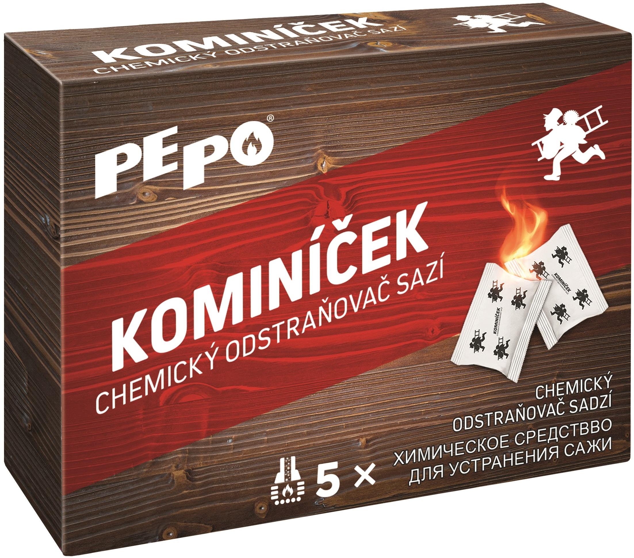 Pe-Po Kominíček chemický odstraňovač sazí z komínů a kouřovodů 5 ks x 14 g