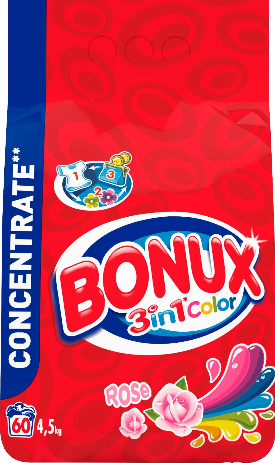 Bonux Rose 3v1 Color prací prášek na barevné prádlo 60 dávek 4,5 kg