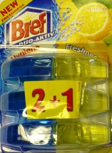 Fotografie Bref Duo Aktiv Extra Clean & Fresh Lemon Wc gel náhradní závěs 3 x 60 ml