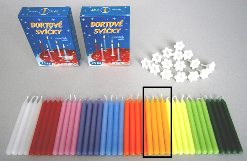 Dortové svíčky s držáky Žlutá 15 ks