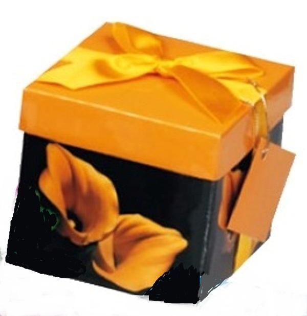 Dárková krabička s mašlí skládací tmavá se žlutou XS 10 x 10 x 10 cm 1 kus