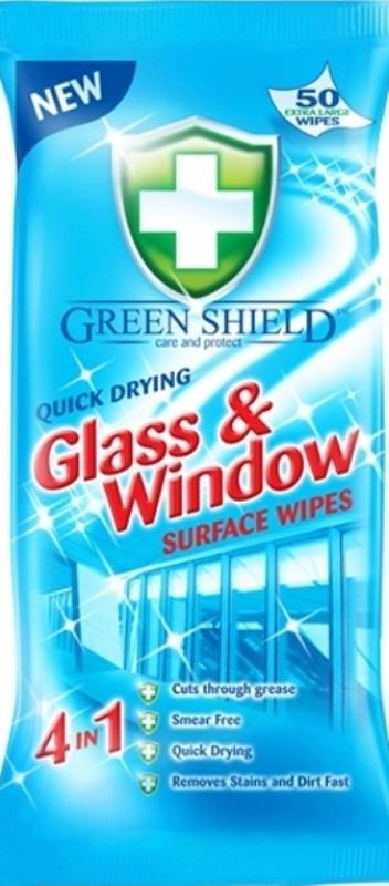 Green Shield Glass & Window 4v1 na okna a skleněné povrchy vlhčené ubrousky 50 kusů
