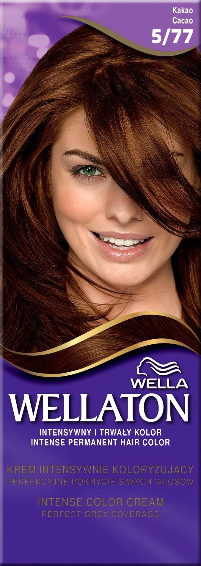 Fotografie Wella Wellaton Intense Color Cream krémová barva na vlasy 5/77 kakaová