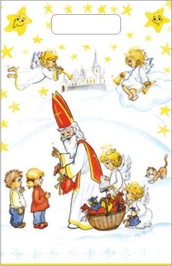 Fotografie Taška igelitová Mikuláš, děti, kostel 36 x 27 cm