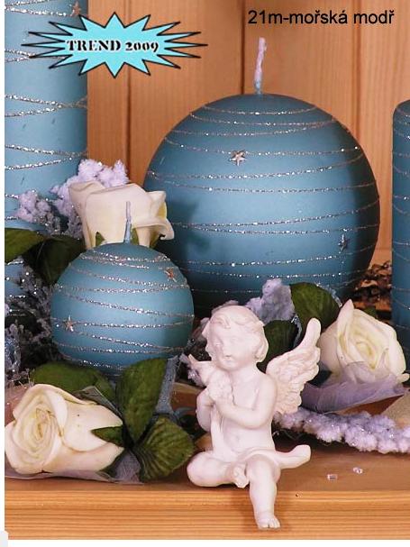 Lima Galaxy svíčka modrá koule průměr 80 mm 1 kus