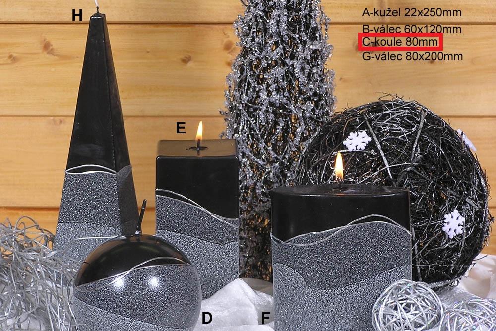 Lima Artic svíčka černá koule 80 mm 1 kus