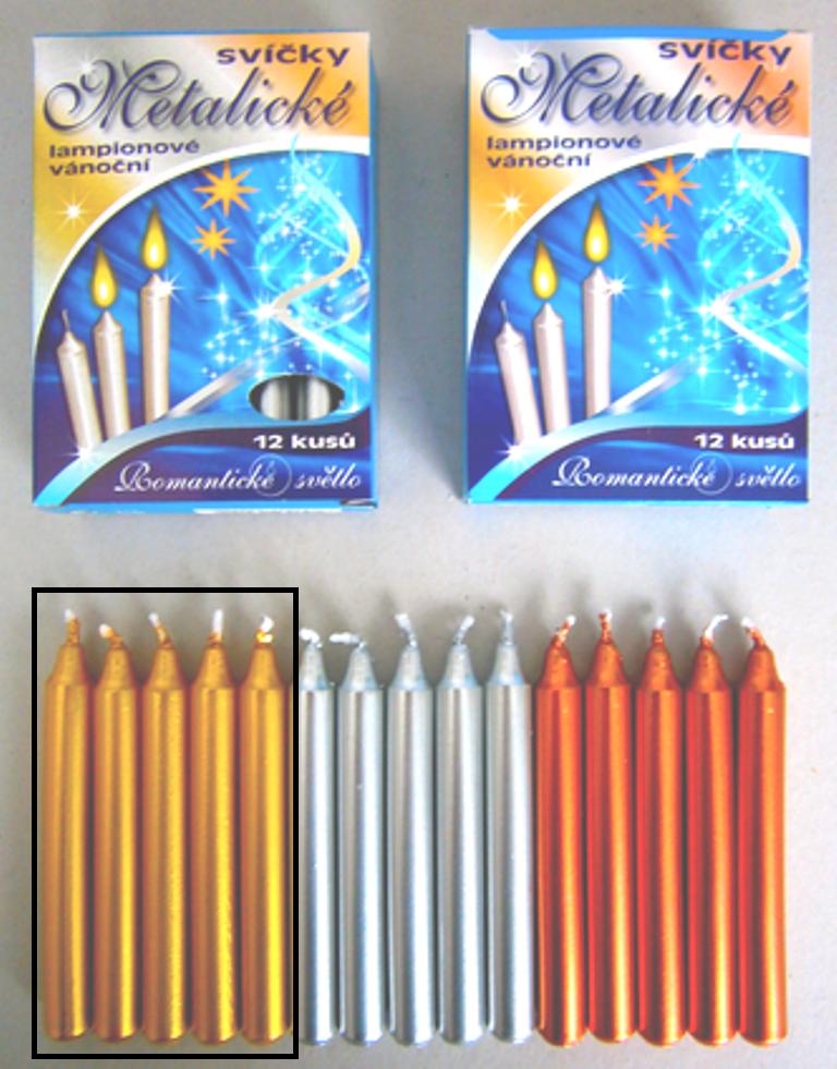 Romantické světlo Vánoční svíčky krabička hoření 90 minut metalická zlatá 12 kusů
