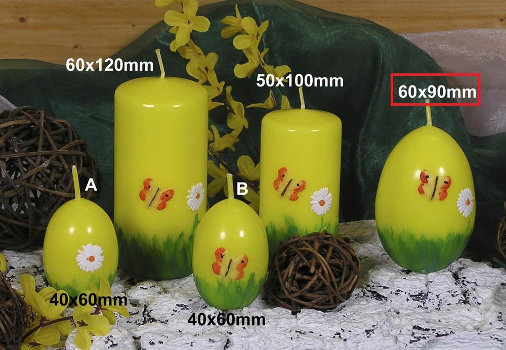 Lima Jarní motiv svíčka žlutá vajíčko velké 60 x 90 mm 1 kus