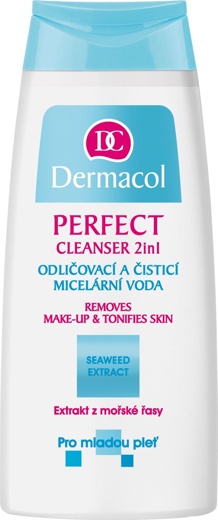 Fotografie Dermacol Perfect Cleanser 2v1 odličovací a čisticí pleťová voda 200 ml