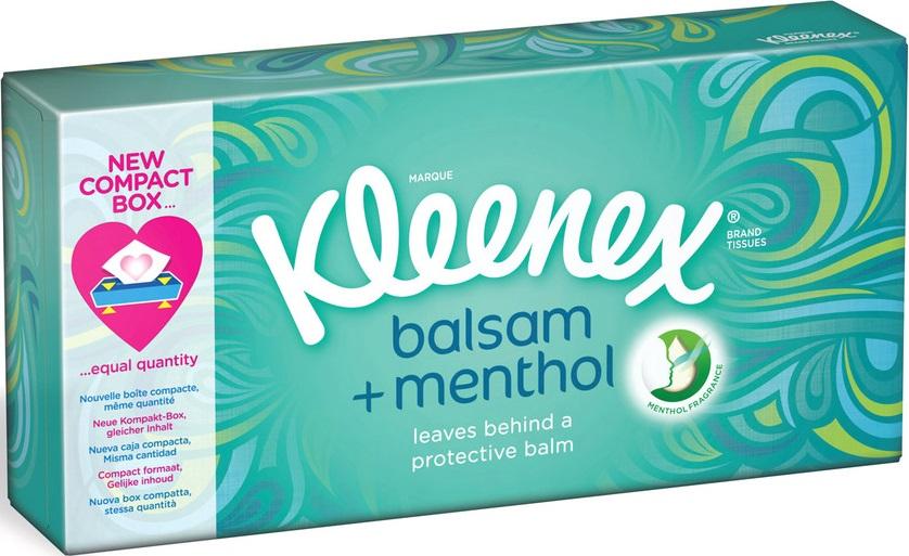 Kleenex Balsam + Menthol hygienické kapesníky s vůní mentolu v krabičce 3 vrstvý 72 kusů