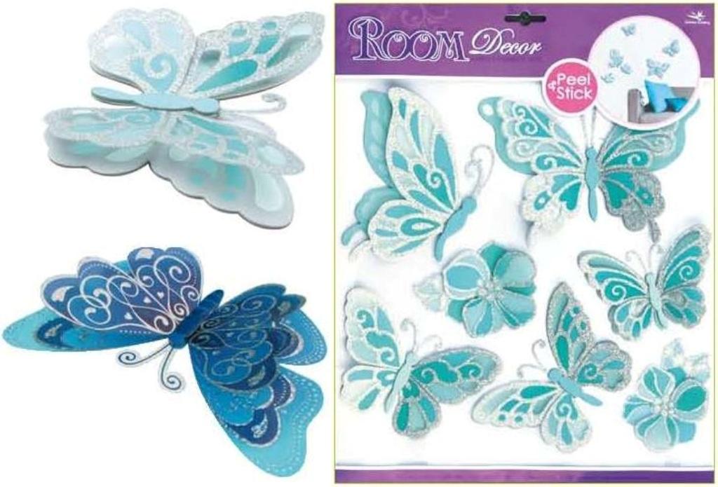 Room Decor samolepky na zeď motýli světle modří se stříbrnými glitry 39 x 30 cm