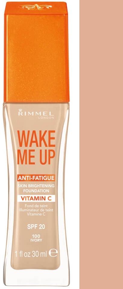 Fotografie Rimmel Wake Me Up rozjasňující tekutý make-up SPF 20 odstín 100 Ivory 30 ml